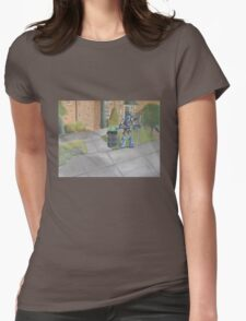 Landscape with Robot 2 Womens Fitted T-Shirt