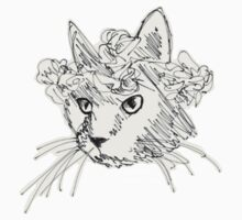 Flower Crown Cat Sketch Kids Tee