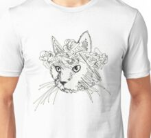 Flower Crown Cat Sketch Unisex T-Shirt
