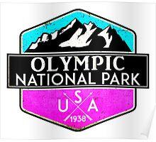 OLYMPIC NATIONAL PARK WASHINGTON 1938 HIKING CAMPING CLIMBING MOUNTAINS PINK Poster
