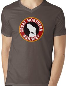 Great Northern railway sign Mens V-Neck T-Shirt