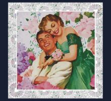 Darling i love you. 1950 era happy and loving couple on floral background, reproduction Kids Tee