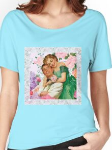 Darling i love you. 1950 era happy and loving couple on floral background, reproduction Women's Relaxed Fit T-Shirt