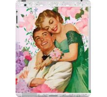 Darling i love you. 1950 era happy and loving couple on floral background, reproduction iPad Case/Skin