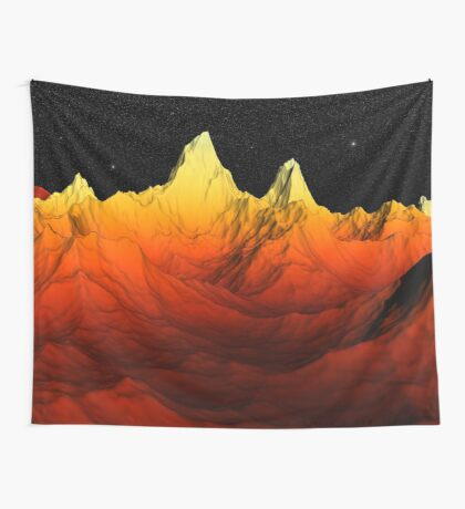 Sci Fi Mountains Landscape Wall Tapestry