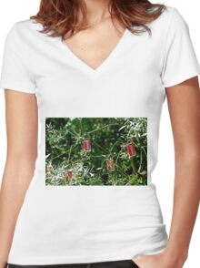 """""""Hybrid"""" - Coca-Cola - willow ... Women's Fitted V-Neck T-Shirt"""