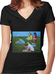 Plein Air Exercises Women's Fitted V-Neck T-Shirt