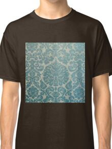 Damask,vintage,teal,beige,old,worn,rustic,victorian,wallpaper Classic T-Shirt