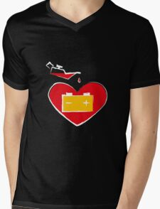 Battery love heart on black background T-Shirt