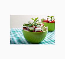 Green bowl with vegetable salad  on a green checkered tablecloth Unisex T-Shirt