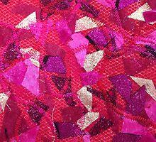 Pink Abstract Textile Art by Anita Van Den Broek