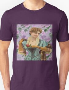 Vintage,cute girl,lady,on purple,floral,flowers,shabby chic,old fashioned Unisex T-Shirt