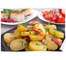Stewed potatoes with bell pepper closeup Poster