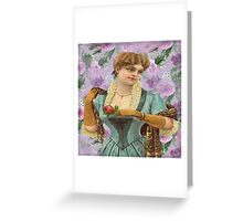 Vintage,cute girl,lady,on purple,floral,flowers,shabby chic,old fashioned Greeting Card