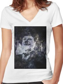 Charlie Chaplins' Ghost Women's Fitted V-Neck T-Shirt
