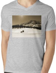 Little Snowy Hut by Mountains Mens V-Neck T-Shirt