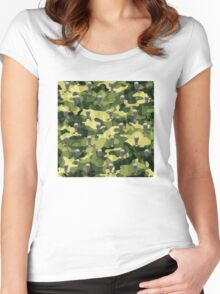 Military Camouflage Background Women's Fitted Scoop T-Shirt
