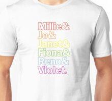 Sutton Foster Roles   White + Color Outline Unisex T-Shirt