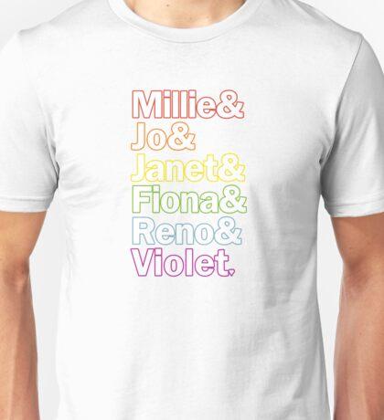 Sutton Foster Roles | White + Color Outline Unisex T-Shirt