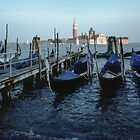 Gondalas at main wharf and San Georgia in Background Venice Italy 19840727 0007 by Fred Mitchell