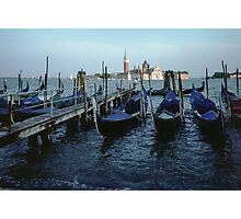 Gondalas at main wharf and San Georgia in Background Venice Italy 19840727 0007 Photographic Print