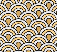 Art deco,scale pattern,gold,navy blue,white,yellow,vintage,1920 era,chic,elegant,trendy,modern Sticker