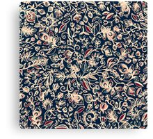 Navy Garden - floral doodle pattern in cream, dark red & blue Canvas Print