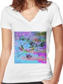 Mauritius Vintage Dragonflies Colours B Women's Fitted V-Neck T-Shirt