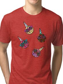 Funny Cute Colorful Unicorn Donut with Sunglasses Tri-blend T-Shirt