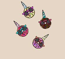 Funny Cute Colorful Unicorn Donut with Sunglasses Womens Fitted T-Shirt