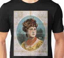 Performing Arts Posters Bust view of woman wearing treble clef headpiece yellow dress and red necklace 1823 Unisex T-Shirt