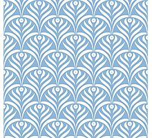 Art deco,scale pattern,powder blue,white,floral,vintage,1920 era,chic,elegant,trendy,modern,girly Photographic Print