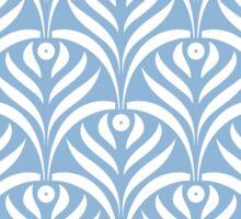 Art deco,scale pattern,powder blue,white,floral,vintage,1920 era,chic,elegant,trendy,modern,girly Sticker