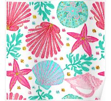 Under The Sea Girly Pattern Poster