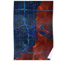 Dark map of Miami City center Poster