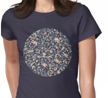 Navy Garden - floral doodle pattern in cream, dark red & blue Womens Fitted T-Shirt