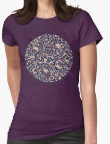 Navy Garden - floral doodle pattern in cream, dark red & blue T-Shirt