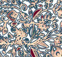 Navy Garden - floral doodle pattern in cream, dark red & blue Sticker