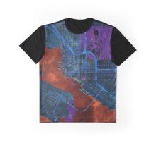 Dark map of San Diego city center Graphic T-Shirt