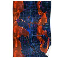 Dark map of Seattle metropolitan area Poster