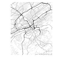 Knoxville Map, USA - Black and White Photographic Print