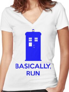 Basically, Run Women's Fitted V-Neck T-Shirt