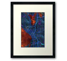 Dark map of Seattle city center Framed Print