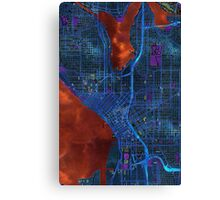 Dark map of Seattle city center Canvas Print