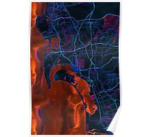 Dark map of San Diego metropolitan area Poster