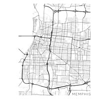 Memphis Map, USA - Black and White Photographic Print