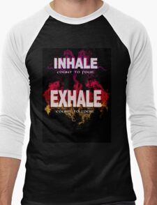 Inhale Exhale (White text) Men's Baseball ¾ T-Shirt