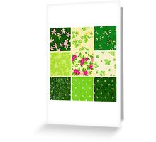 Patch work,water color,hand painted,floral,green,pink,beige,mint,lime Greeting Card