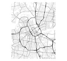 Nashville Map, USA - Black and White Photographic Print