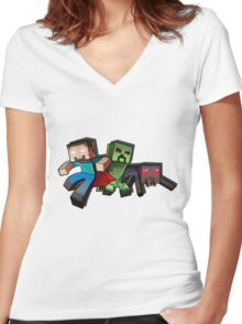 Minecraft Women's Fitted V-Neck T-Shirt